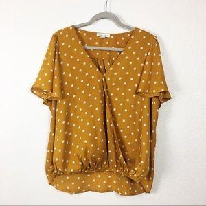 Honey Punch mustard yellow polka dot blouse